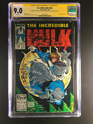 Incredible Hulk 344 CGC 9.0 signed Tom DeFalco Bob Wiacek Peter David