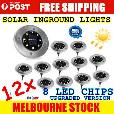 12x Solar Powered LED Buried Inground Path Garden Outdoor stainless steel light