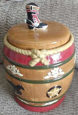 Sonoma Ceramic Cowboy Boot w Spur Cattle Kitchen Cookie Canister Happy Trails