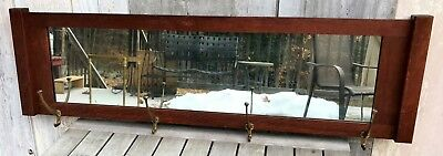 Antique Victorian Mission Tiger Oak Mirror Coat Rack w/ 4 Gilt Iron Hooks 1910