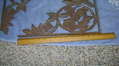 """Pair of Large antique cast iron rose pattern wall brackets 15 1/2"""" legs"""