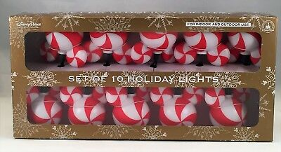 Disney Parks Mickey Candy Peppermint Indoor Outdoor Christmas String Lights NEW