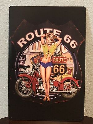 Harley Davidson  Indian Knucklehead Panhead Tin Sign Softail Honda Pin Up Girl