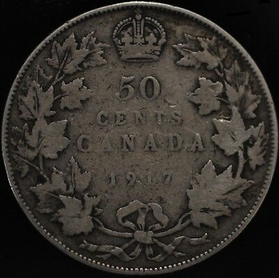 1917  George V Canada Fifty 50 Cents 92.5% Silver Coin.