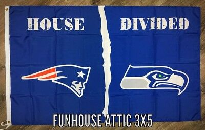 "New England Patriots vs Seattle Seahawks ""House Divided"" FLAG 3x5 ft Banner NFL"