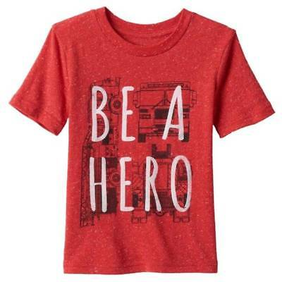 NWT-Toddler Boys Jumping Beans Short Sleeve Red BE A HERO Tee Shirt-size 3T
