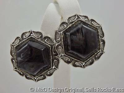 Onyx Glass Hexagon Floral Framed Silver Plated Earrings