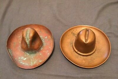 Vintage Copper Stetson 10-Gallon Western Cowboy Hat Ashtray Lot Of 2   Pin  Tray 4ca03440320