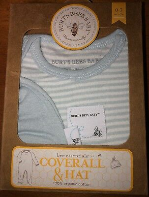 NWT Burts Bees Baby Boy Bee Essentials Coverall, SZ 0-3 Months