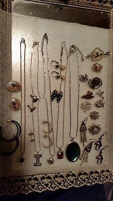 Vintage Estate Mixed Jewelry Lot,brooch,earrings,necklaces,rhinestones And More