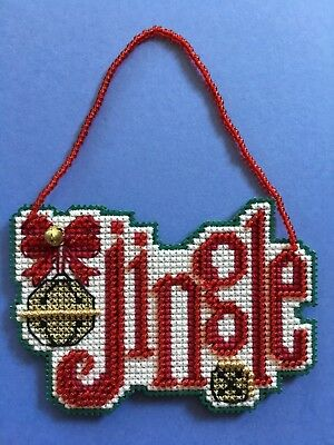 Handmade Finished Completed Cross Stitch Christmas Ornament - Jingle