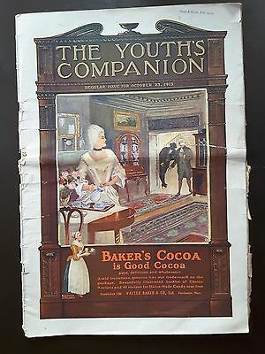 The Youth's Companion Oct. 23, 1913 Baker's Cocoa Cover Ad~ Nice Collectible