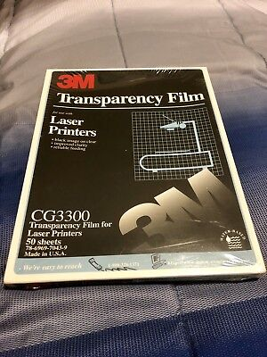 3M Transparency Film, Use W/Laser Printers, Box Of 50 Sheets, BN Sealed, CG3300