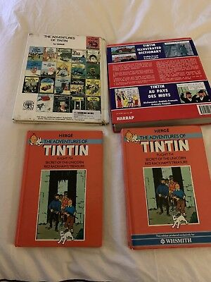 LOT of 4 Hardcover HERGE-The Aventures Of TINTIN