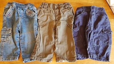 Job Lot George Boys 3 Pairs of Lined Trousers 3 - 6 Months Kids Clothing Childre