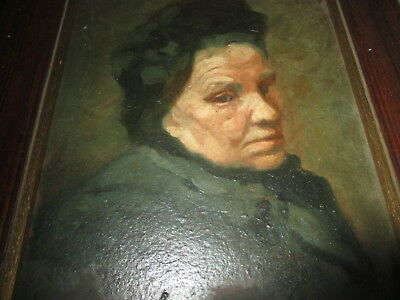 Antique Oil Painting Portrait  19th Century French Lady 28 by 25 cm