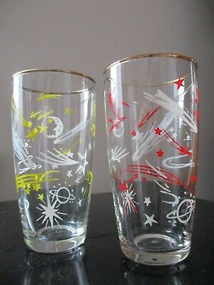 Vintage Mid Century CHILDRENS atomic drinking glasses retro CHRISTMAS HACKNEY
