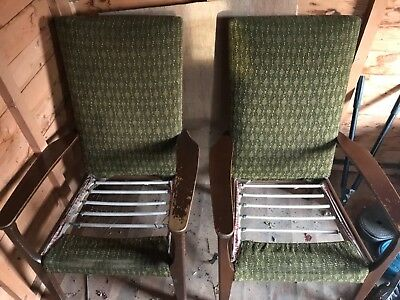Pair of Parker Knoll vintage retro mid century chairs armchairs x 2 NEED REPAIR