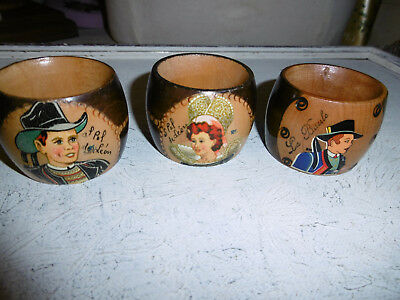 Vintage French napkin holders x 3 very good condition