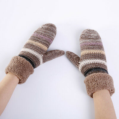 Ladies Women Knitted Soft Warm Winter Cycling Full Finger Gloves Z