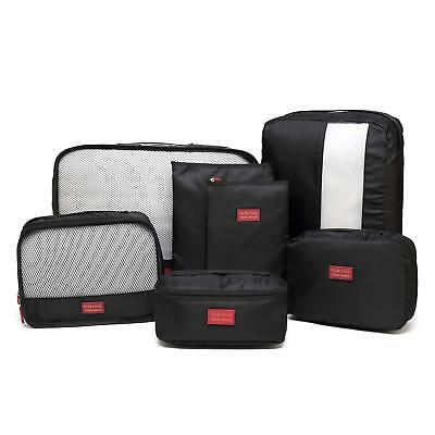 7 Set Travel Luggage Bags Packing Cubes Organizer Compression Pouches - Black
