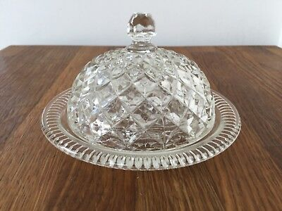 Vintage Glass Dome Lidded Butter Sauce Preserve Condiment Dish