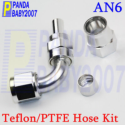 An6 6An An-6 -6 Teflon Ptfe Hose End E85 Oil Fuel Line 90° Deg Adapter Fitting S