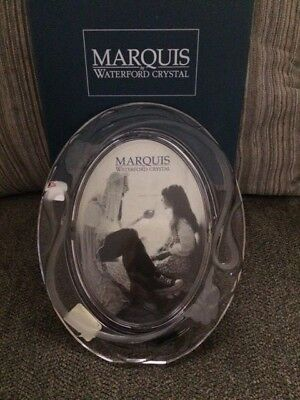 Vintage IRIS Marquis Waterford Crystal Standing Oval Picture Frame 5x7  w/box