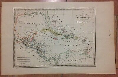 CARIBBEAN GUATEMALA by HUOT DATED 1835 XIXe CENTURY ANTIQUE ENGRAVED MAP