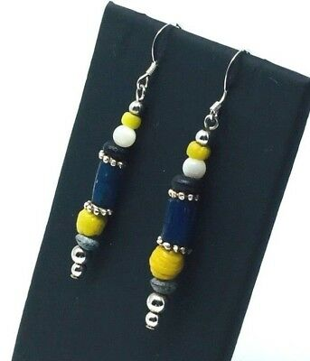 Ancient Roman Glass Beads Restrung On New/Modern Earrings