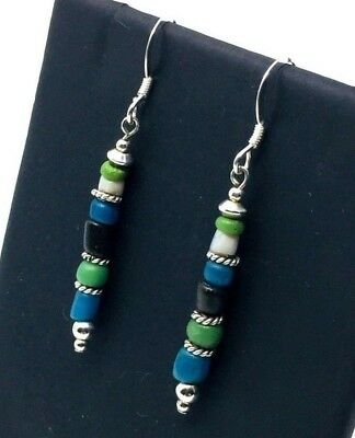 Ancient Roman Blue Green Glass Beads Restrung On New/Modern Earrings
