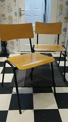 Vintage Retro Mid Century Industrial Ply Wood and Steel Tube Stacking Chairs