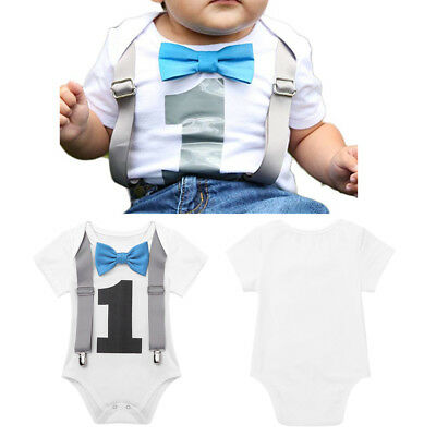 Infant Baby Boys 1st Birthday Romper One Year Clothes Suspender Bow Outfits 18M