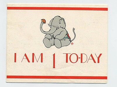 Vintage 1940s Jolly Elephant Birthday Card For One Year Old Boy L1
