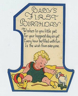 Vintage 1940s Cut Out No 1 Birthday Card For One Year Old Boy L1
