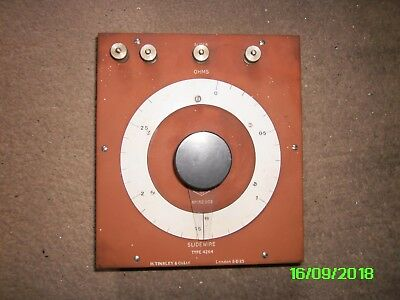 H Tinsley & Co. slide wire potentiometer 0 to 2.8 Ohms high accuracy and power