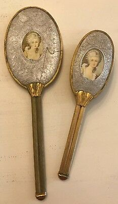 Antique/Vintage Victorian Portrait Gold-tone W/Aluminum Mirror And Brush Set USA