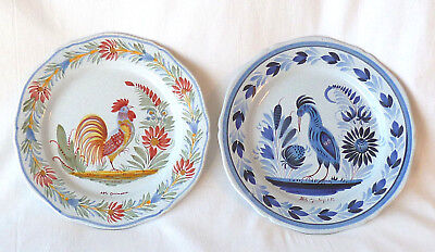 HB QUIMPER Blue CRANE ROOSTER 2 French Vintage Hand Painted Decorative PLATES