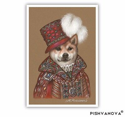 Shiba Inu Art Print - Prince - Dogs in Clothes Art - Royal Dogs