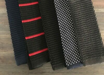 NEW Lot of 5 High Quality 100% Silk Knit Ties - Navy, Black, Gray, Red, Knitted