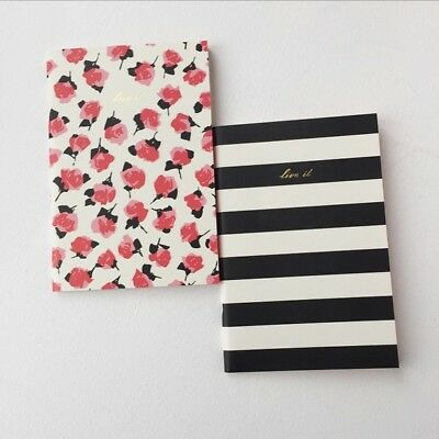 Kate Spade Set of 2 Notebooks 80 Lined Pages Each Black Stripe & Pink Roses