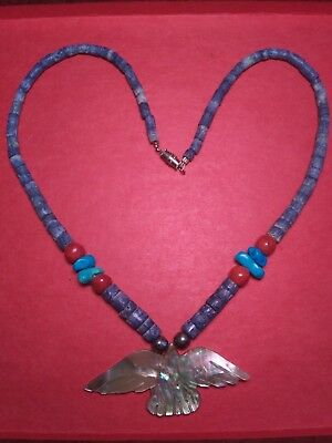 MOTHER OF PEARL CARVED EAGLE NECKLACE Graduated Lapis tube beads Native American