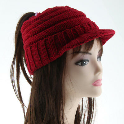 Women Ponytail Beanie Skull Cap Winter Soft Stretch Cable Knit High Bun Hat