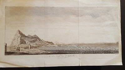 "antique engraving "" A North View of Gibraltar"" 1785"