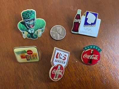 Coca-Cola Vintage Pins--Lot of 5---Lillehammer '94---US Soccer---Ronnie Lott Etc