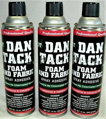 3 Dan Tack Dantack Professional Foam & Fabric Spray Glue Adhesive Big Can 12 oz