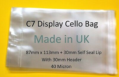 EUROSLOT C7 - 87mm x 113mm Retail Display Cello Bag -Clear Cellophane Bags