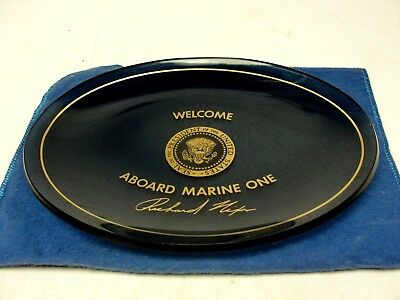 Welcome Aboard Army One Richard Nixon Presidential Glass Candy Dish Plate
