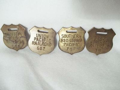 4 Brass Railroad Tags Fobs Santa Fe Great Northern Southern Rio Grand Union Pac