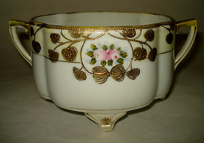 Antique Nippon Handled Footed Dish Bowl PINK ROSES HEAVY GOLD Hand Painted DECO